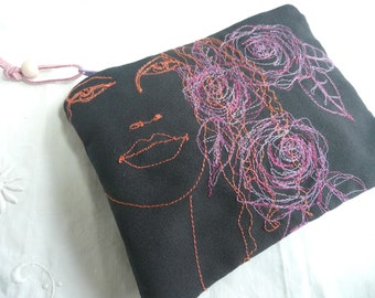 Hand embroidered purse - hand embroidered cosmetic pouch - fashion illustration purse - hand made pouch - free embroidered purse