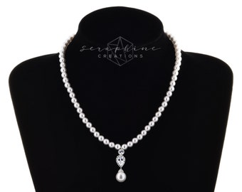 Pearl Bridal Necklace, Swarovski Pearls Cubic Zirconia Wedding Jewelry Wedding Necklace Sparkly Teardrop Single Strand Bridal Classic N23