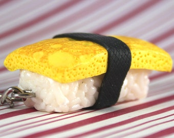 tamago sushi key chain kawaii polymer clay charms miniature food jewelry polymer clay food key chain japanese key japan key japanese food