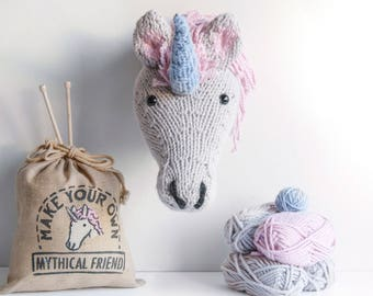Faux Unicorn Knitting Kit - Silver - Make Your Own Mythical Friend - Taxidermy Trophy Head DIY Kit