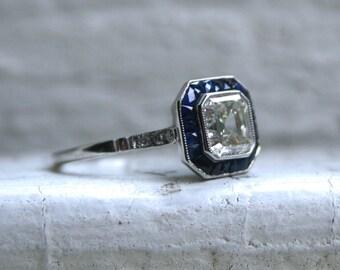 Vintage Art Deco Platinum Asscher Cut Diamond and Sapphire Engagement Ring - 1.96ct.