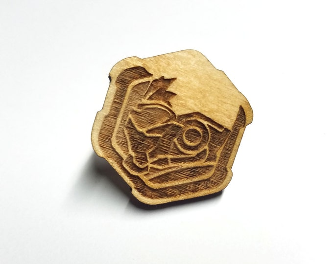 Overwatch Soldier 76 Pin   Laser Cut Jewelry   Wood Accessories