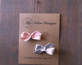 leather bitty bow clip set / girls clip/ baby hair clip/ leather bow clip