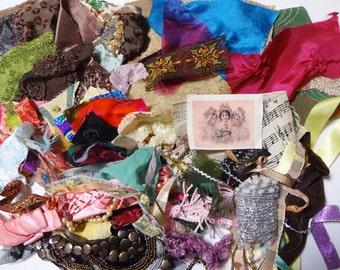 1/2lb Remnants Destash Vintage Trim Lace Scrap Lot for crazy quilt
