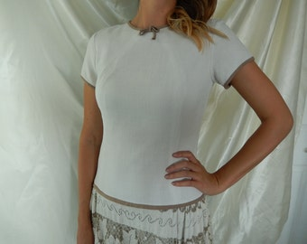Vintage Linen Dress - 1950s Daytime Dress - Jeannette Alexander Dress - Dropped Waist Dress - Full Skirt Dress - Size S-M Vintage Dress