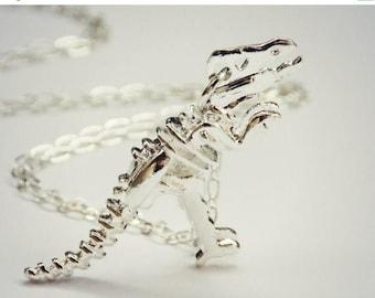 SUMMER SALE silver dinosaur necklace, T-rex necklace, dinosaur skeleton, skeleton necklace, bone necklace, kitsch necklace, long necklace