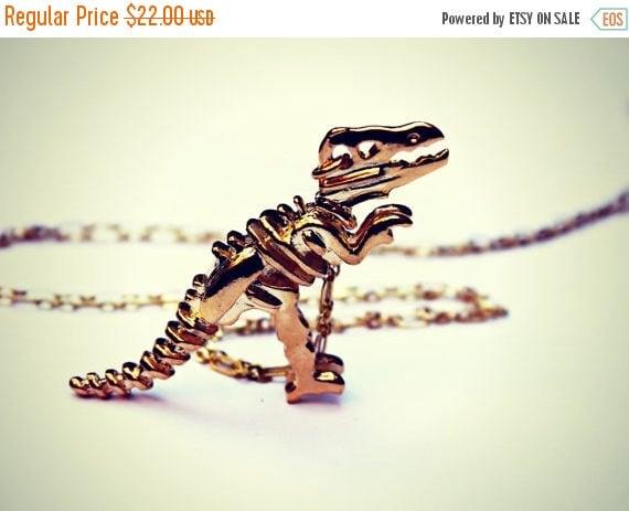 SUMMER SALE gold dinosaur necklace, T-rex necklace, dinosaur skeleton, skeleton necklace, bone necklace, kitsch necklace, long necklace
