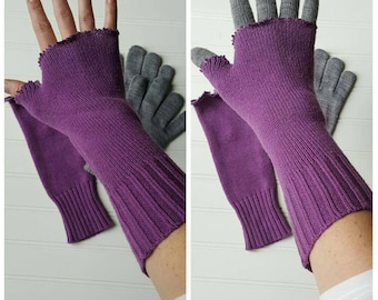 Sale! Upcycled fingerless gloves, eco friendly cotton recycled sweaters, wrist warmers, bohemian gloves, rustic recycle arm warmers, purple