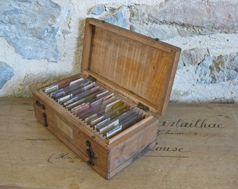 Specimen slides in box, antique French medical or science laboratory specimens dated 1800s