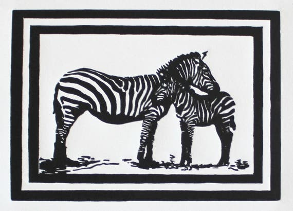 Zebras -- Original Block Print