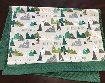 Mountain Baby Blanket, Arrow Baby Bedding, Baby Boy MINKY Blanket, Adventure Awaits Green Baby Blanket, Ready to Ship Baby Boy Blanket