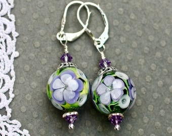 Lampwork Bead Earrings, Lampwork Jewelry, Handmade Purple Floral Beads, Sterling Silver