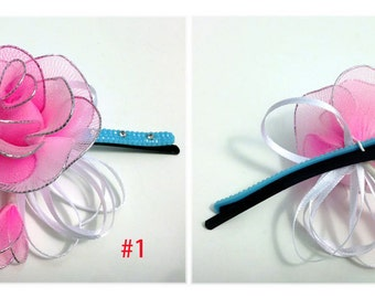 Handmade Mini  Rose with Colorful Hairclip