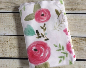 Organic Cotton Knit Floral Swaddle Blanket. Newborn, Baby Photo Prop, Baby Shower Gift, Swaddling Blanket