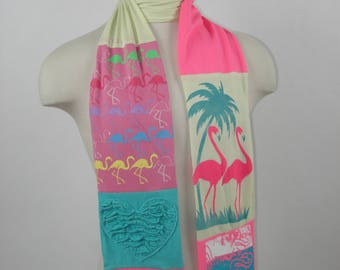 T-Shirt Scarf:  flamingo, flamingo scarf, Florida scarf, sunshine scarf, whimsical scarf, OOAK scarf, OOAK gift, wearable fabric art, whimsy
