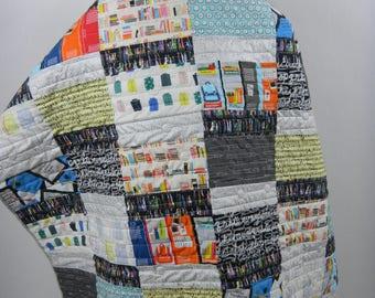 Lap Quilt:  School Days, Teacher Gift, High School Teacher, Teacher Appreciation, School Remembrance, OOAK Quilt, OOAK gift, Education