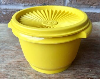 Small Yellow Tupperware Container, 1960's