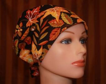 Tie Back Scrub Hat/Chemo Hat/Womens scrub hat/Surgical Scrub Hat/Scrub cap--Fall Harvest