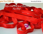 ON SALE NEW - No Slip - Silicone Lined Elastic - 2, 5, or 10 Yards Red 5/8 Inch Fold Over Elastic - Shiny foe - Baby Headband Elastic