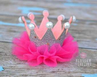 Silver Hot Pink Glitter Pearl Ruffle Tulle Crowns - DIY Birthday Tiara Crown Headband Clip Hat - Wholesale Craft Supplies - 1st Birthday Bow