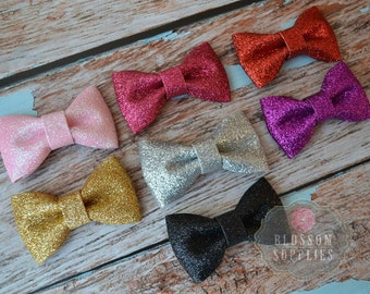 The Eva Collection - Glitter Bows - You Pick Colors - diy Bow Headband - Wedding Bridal Bows - Shimmery Hair Clips Gold Silver Wholesale