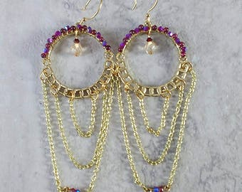 Handmade gold tone bead wrapped chandelier earrings with Swarovski crystals, and micro Garnets, ready to ship, free shipping, made in MT