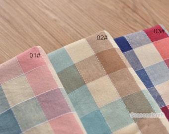 Yarn Dyed Colorful Cotton Fabric,Gingham,Plain Fabric,Medium thickness,fresh Style,diy,fabric,Sewing--1/2 yard (QT1014)
