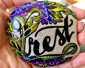 Rest / take time for you / painted rocks / painted stones / get well gifts / altar art / hand painted rocks / rock art / desk top art /rocks