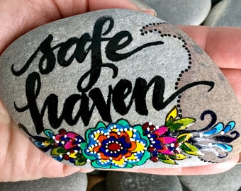 safe haven / painted stones/ painted rocks / altar art / words on stone  / words on rocks / rock art / hand painted rocks / boho art /hippie