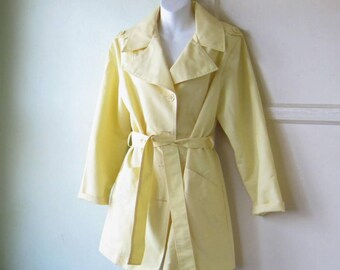 Daffodil Yellow Vintage Trench Coat with Tie; Small-Medium~1970s Sears Butter Yellow Raincoat with Pockets/Fun!