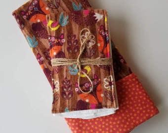 Bohemian/Woodland Flannel Baby Blanket & FREE matching Burpcloth