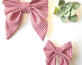 Red and white gingham sailor bow, checkered bow, hair bow, hair clip, summer bow, picnic bow