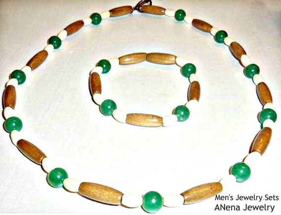 """Men's Bracelet  And Necklace Set: wood , aventurine 10 mm and pure copper toggle clasps closure  """"I Am Authentic""""  By A'Nena Jewely"""