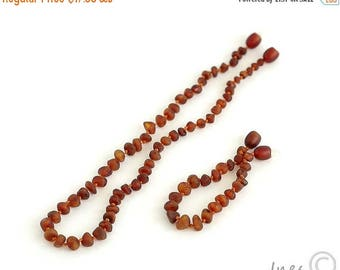 15% OFF Raw Unpolished Cognac Baltic Amber Baby Teething Necklace and Bracelet/Anklet