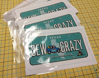 Row By Row 2017 - Fabric License Plate - Sew Crazy - 1 Fabric Plate
