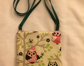 Owl Print fabric, Cell Phone, iPhone, Droid, Small Crossbody Bag, Shoulder Bag, Cross Body Purse, fits many models