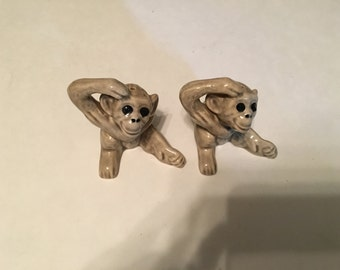 vintage ceramic gray monkeys salt and pepper shakers