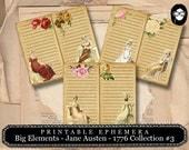 Jane Austen Print - Big Elements #13 - 1776 Collection #3 - 3 Pg Instant Download - pride and prejudice, jane austen quote, journal cards