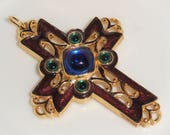 Designer Signed AVON Fashion CROSS Purple Blue Green Enamel Figural PENDANT