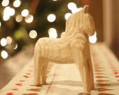 RETRO Swedish Dala Horse Natural Wood Antique Style