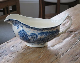 Blue and white china vintage gravy/sauce jug