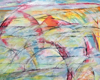 Landscape , 10-19-16 (abstract expressionist painting, gold, white, blue, green, silver, red, yellow)