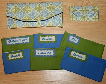 Fabric Cash Envelope system with CUSTOM EMBROIDERED LABELS - blue & green