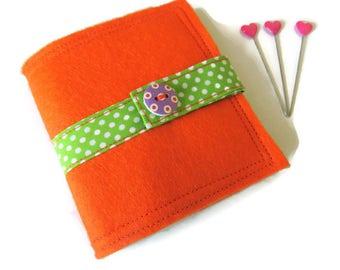 Orange Felt Needle Case - Felt Needle Case - Sewing Needle Case - Hand Sewing Needle Case - Needle Book
