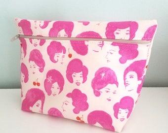 Pink Makeup Bag - Modern Makeup Bag - Bridesmaid Gift  -  Cosmetic Bag - Waterproof Bag - Melody Miller Fabric