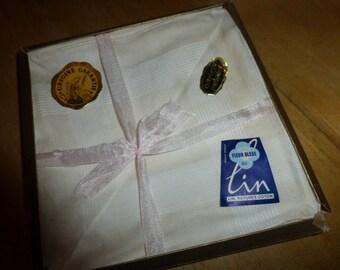 Handkerchiefs, 11 Pure Linen Unused , Fleur Bleue, French Vintage.