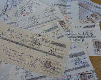 Checks,Antique French Papers, Large Cheques, Checks,  Mixed Dates.