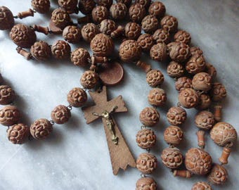 Large Antique Carved 6 Decade Rosary, Chaplet, French Circa 1920's