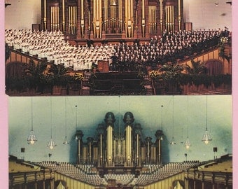 """Pair Ca. 1950's """"Mormon Tabernacle Organ & Choir"""" Topographical Picture Postcards - 311"""