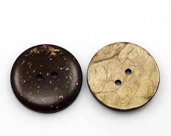 4 real coconut buttons ø30mm various shades of brown